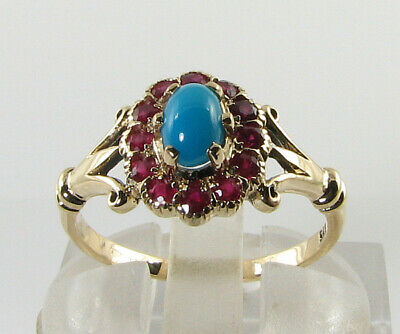 Divine 9K 9Ct Gold Persian Turquoise Ruby Art Deco Ins Cluster Ring Free Resize