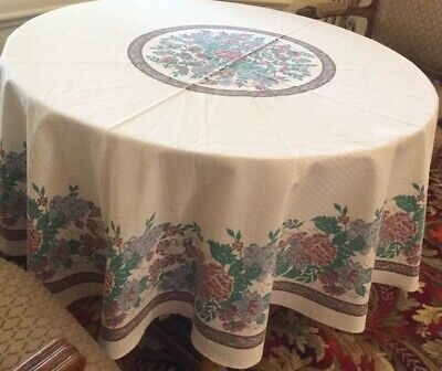 "Large Circular 72"" Floral Tablecloth Polyester Cotton Heavy Quality, Very Pretty"