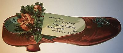 Rare Antique Victorian American Brooks Dining Rooms Advertising Shoe Trade Card!
