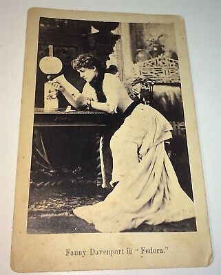 Rare Antique American Fashion Actress Fanny Davenport! Fedora Cabinet Photo! NY!