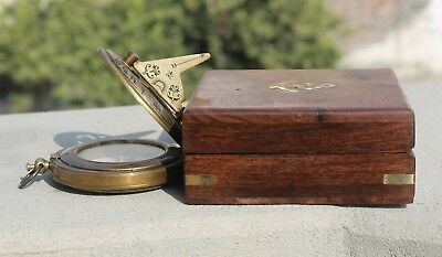 NAUTICAL BRASS PUSH BUTTON ANTIQUE SUNDIAL COMPASS VINTAGE WITH WOODEN BOX Gift.