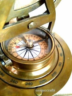 Antique Brass Nautical Alidate Vintage Collectible Working Compass Marine Gift