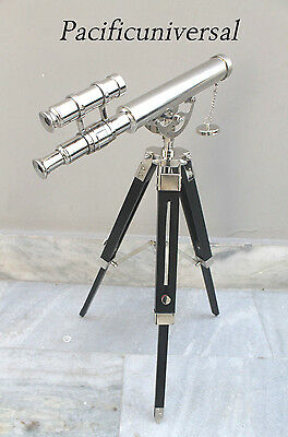 "Nautical Maritime Collectible Spyglass Double Barrel Telescope 12"" With Tripod."
