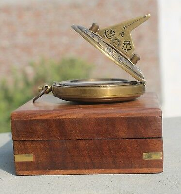 "2"" Push Button Sundial Compass With Box Handmade Nautical Compass Xmas G"