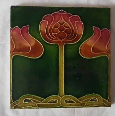 PERIOD english MAJOLICA ART NOUVEAU 6 INCH TILE FAB DESIGN