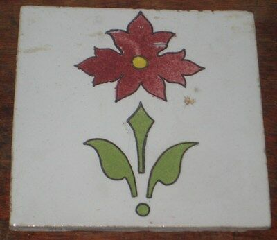 DUTCH ELSLEY DELFT TILE CIRC 1880S WILLIAM MORRIS INTEREST stylised flower motif