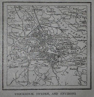 L@@K! Antique 1914 Small World Atlas Map of Stockholm, Sweden And Environs Nice!