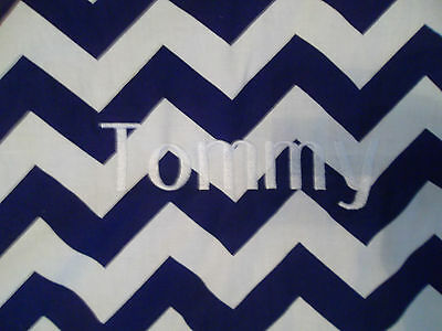 """Carseat Canopy Jagger Blue White Chevron """"Tommy"""" Personalized Car-Seat Cover"""