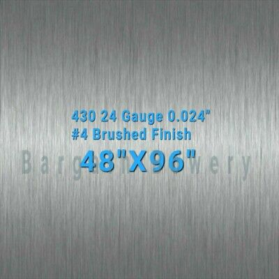 "430 Stainless Steel Sheet Wall Covering #4 Brushed 24 Gauge 0.024"" thick 4'x8'"