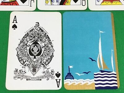 Vintage Goodall English Named Art Deco * HOYLAND * Bezique Playing Cards SAILING