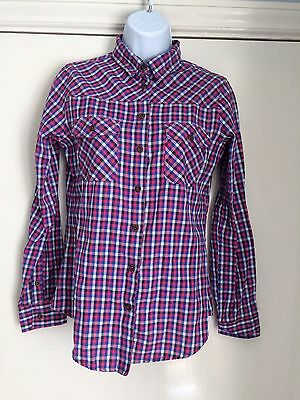 Lee cooper size 10 pink blue white fine check shirt ladies