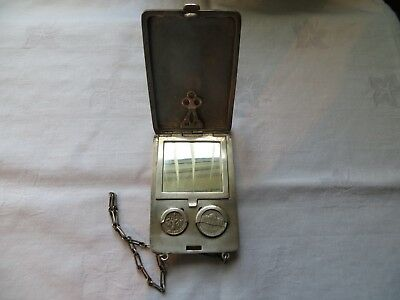 VERY RARE AMERICAN SOLID SILVER COMPACT, COIN HOLDER AND CARD CASE c1900  120.8g