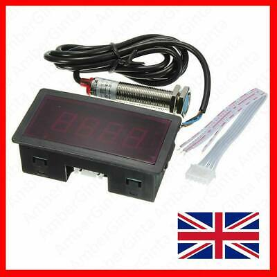 Red LED Tachometer RPM Speed Meter with Proximity Switch Sensor NPN UK EU
