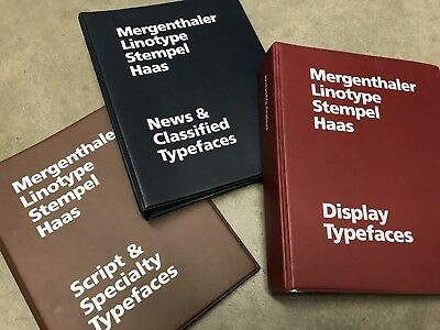 Merganthaler Linotype Stempel Haas Type Specimen Guides Rare Minature Binders !