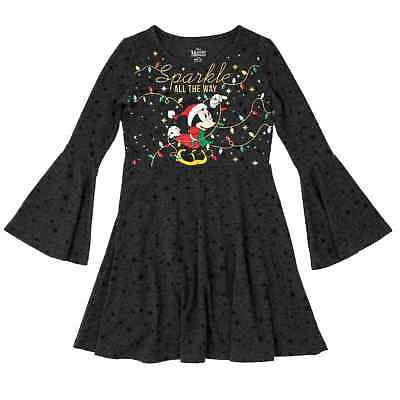 NEW Disney Girls Minnie Mouse Sparkle All the Way Christmas Holiday Dress XS 4-5