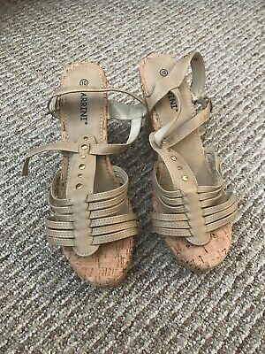 04748a2a3 Brand New Carrini Sexy Tan And Gold Platform Wedge Women s Sandals Size US  10