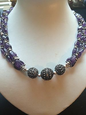 Deluxe! Real! Gem Purple Amethyst,..Sterling 925 Silver Necklace 18""