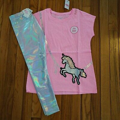NWT Justice Girls Outfit Unicorn Pocket Top/Iridescent Leggings Size 6  7 10 12