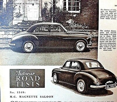 """MG MAGNETTE (ZA) - 1954 Road Test from The AUTOCAR """".ONE OF THE FINER CARS..."""""""