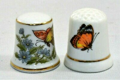 Vintage Ceramic Thimble Butterfly Collection ~ Gold Trim ~ Flowers ~ JAPAN Made