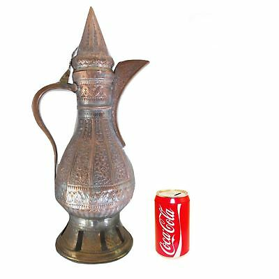 Large Middle Eastern Persian Mameluke Hammered Tinned Copper Pitcher Ewer