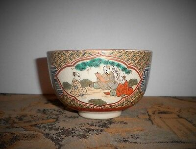 Antique Japanese Satsuma Meiji Period Gold Trim Japanese Decorative Arts Bowl