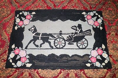 ANTIQUE PRIMITIVE AMERICAN CARRIAGE DESIGN HOOKED RUG CIRCA LATE 1800's