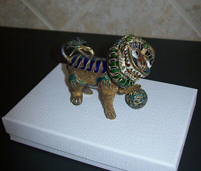 Antique Chinese Miniature Wire Mesh Cloisonne Foo Dog Lion Enameled Doll