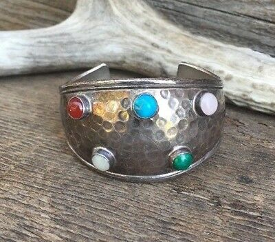 Vtg TAXCO Mexico Hammered Sterling Silver Gemstone Cuff Bracelet Signed TC-103