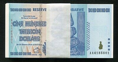 100 Consecutive 2008 100 Trillion Dollars Reserve Bank Of Zimbabwe, Aa P-91 Unc