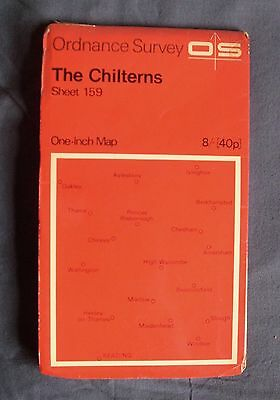 1968 paper Ordnance Survey 7th series One Inch Map The Chilterns Sheet 159