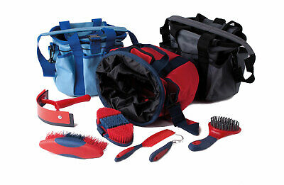 Rhinegold Complete Grooming Kit And Bag 6 Piece Red, Grey, Blue, Free Postage.