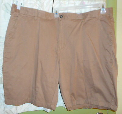 George Above The Knee Flat Front Outpost Brown Men/'s Stretch Shorts NEW