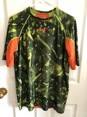 New Mens UNDER ARMOUR XL Gray w Lime NFL Combine Fitted Heatgear NWT