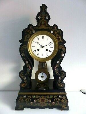 Antique 19th Century French Boulle Large Ebonised Mantel Clock – Japy Freres