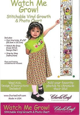 Charles Craft WATCH  ME GROW GROWTH  CHART Counted Cross Stitch Kit Started