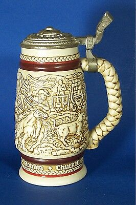 Old West Beer Stein with Lid Western Round Up Cattle Drive Barware Vintage Avon