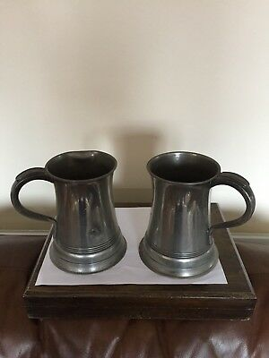 Pair Of Quart Pewter Tankard One Has V R And Another Mark On It