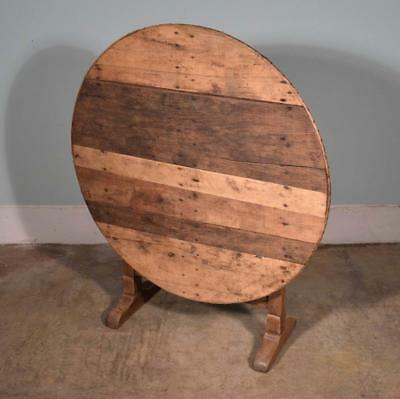 *Antique French Solid Oak Wine Tasting Table with Tilt Top