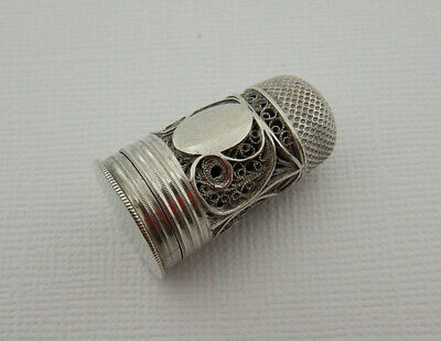 A Rare Georgian Combined Filigree Silver Thimble & Perfume Bottle