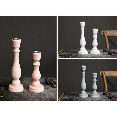 2 Pack Pillar Candle Stick , Solid Color, with Candle Plate, white-L+S
