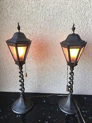 Pair of Old Bronze or Brass Barley Twist Lamps Signed ENGLAND, Verdigris Patina