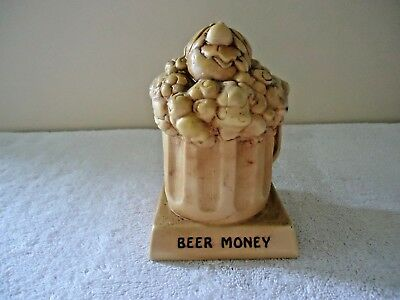 """Vintage Paula 1974 WB-41 Made In USA """" BEER MONEY """" Piggy Bank """" GREAT ITEM """""""