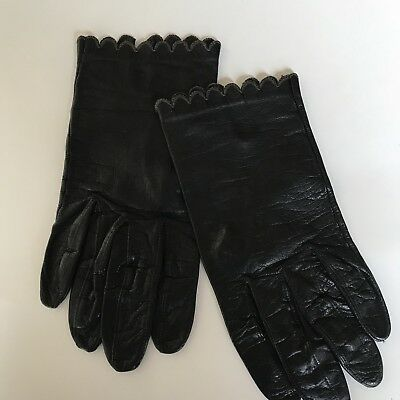 Womens Miss Aris Black Leather Scalloped top Gloves-7  B10