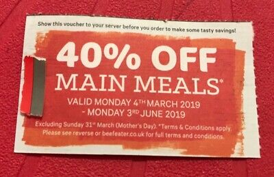 40% off main meals at Beefeater coupon valid for up to 6 people until 3rd June