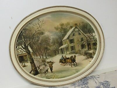 """Vtg. Promo Sunshine Biscuits: Currier & Ives """"American Homestead Winter"""" Tray"""