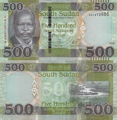 South Sudan 500 Pounds (2018) - President/River Valley/pNew UNC
