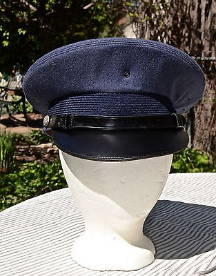 WWII and After - US Army Air Force Blue Visor Hat/ 100% Wool/ Size 7 1/8