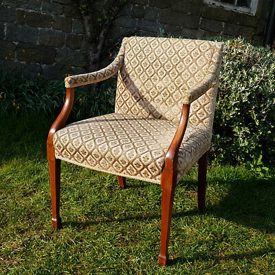 Edwardian Mahogany Upholstered Gainsborough Armchair - Early C20th (Antique)