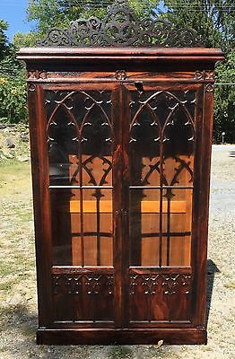 Gothic Oak 2 Door Bookcase With Pierced Carved Crest